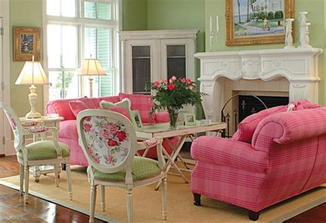pink living room furniture decorating with pink and green town country living