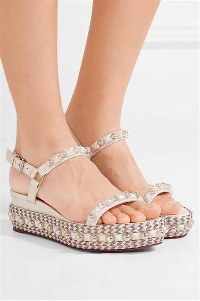 Louboutin Sandals Wedge Christian Leather Embellished