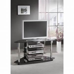 Meuble D Angle Pour Tv : meuble tv d 39 angle contraste verre noir achat vente ~ Teatrodelosmanantiales.com Idées de Décoration