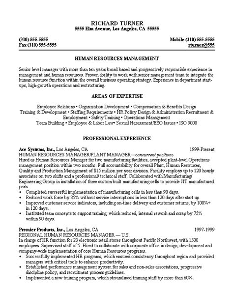 Human Resource Manager Resume Objective by Free Sle Resume Human Resources Manager Persuasive