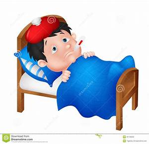Sick Boy Lying In Bed Stock Vector Image: 45746020