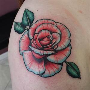 new school tattoo rose - Google zoeken | ~ Cute tattoos ...