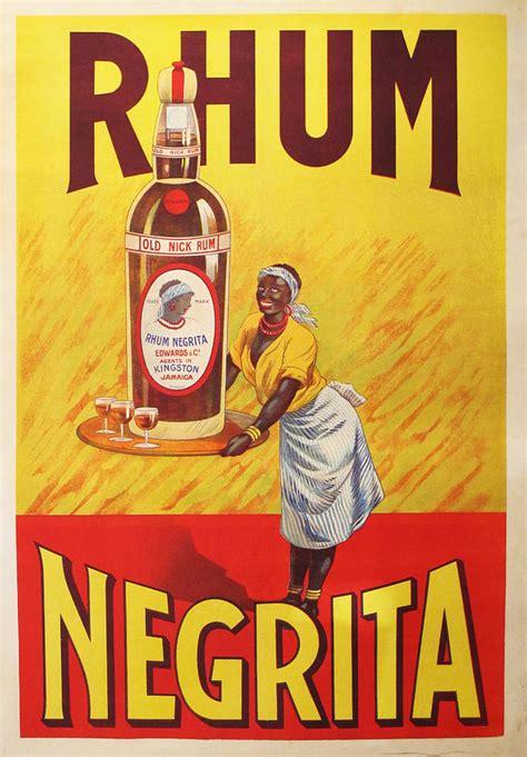 1920s original rhum negrita vintage poster drawing