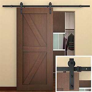 smartstandard 8 ft sliding barn door hardware black With commercial sliding barn doors