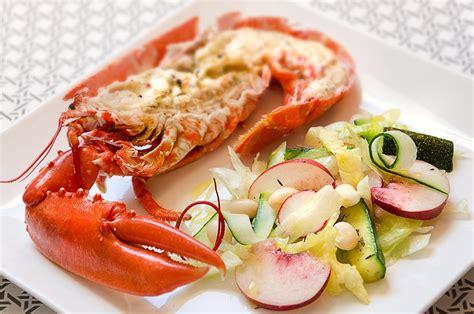 cuisiner du homard homard et salade aux pêches cuisine à l 39 ouest