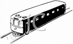 A Black and White Cartoon of a Train on the Tracks ...