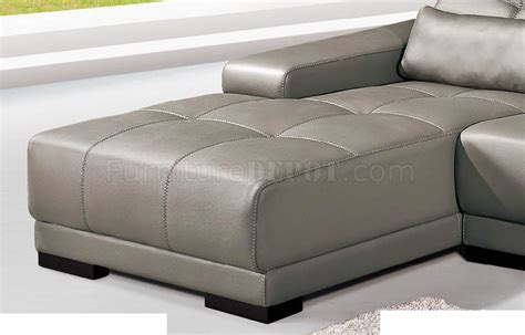 real leather sectional grey genuine leather sectional sofa w adjustable headrests