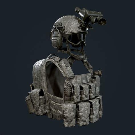 ArtStation - Military Gear Equipment Vest and Helmet Game ...