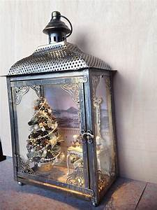 Metallic, Lantern, House, Inside, A, Christmas, Scene, With, Tree, In, Shades, Of, White, And, Gold, Whit