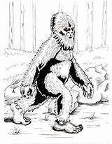 Bigfoot Coloring Pages Cryptozoology Print sketch template