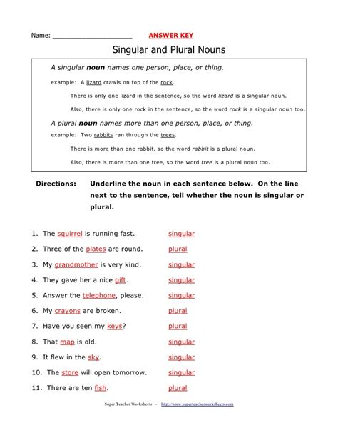 plural noun worksheet number 2