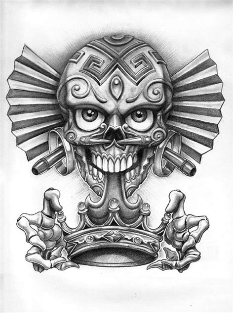Dia de los muertos skull with crown tattoo design   Tattoos Book   tatt ideas in 2019   Chicano