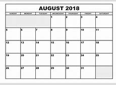 Printable Monthly Calendar August 2018 journalingsagecom