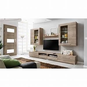 Meuble tv design mural slann bois clair composition for Meubles bois clair design