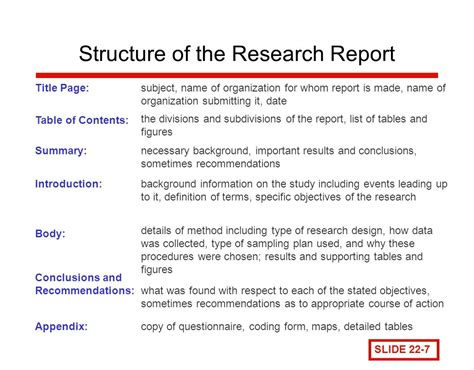 research report the research report chapter ppt