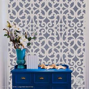 large exotic trellis wall stencils for diy painting With interior decoration wall stencils