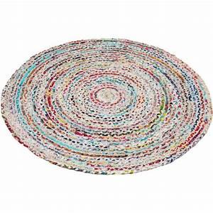 Tapis Blanc Rond : tapis rond tiss main plat en coton muliticolore blanc circle ~ Dallasstarsshop.com Idées de Décoration