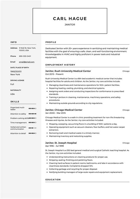Formal Resume Template by Janitor Resume Sle Template Exle Cv Formal