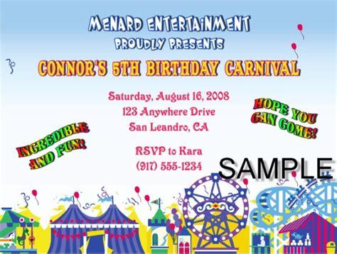 carnival amusement park birthday party invitations
