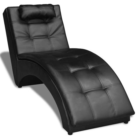 chaise longues vidaxl chaise longue with pillow artificial leather black