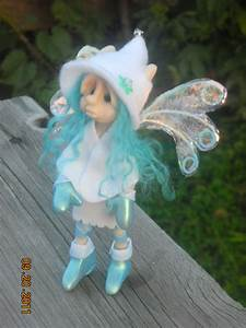 Ooak Hand Sculpted Polymer Clay Winter Fairie  U0026quot Bliss U0026quot  Fant