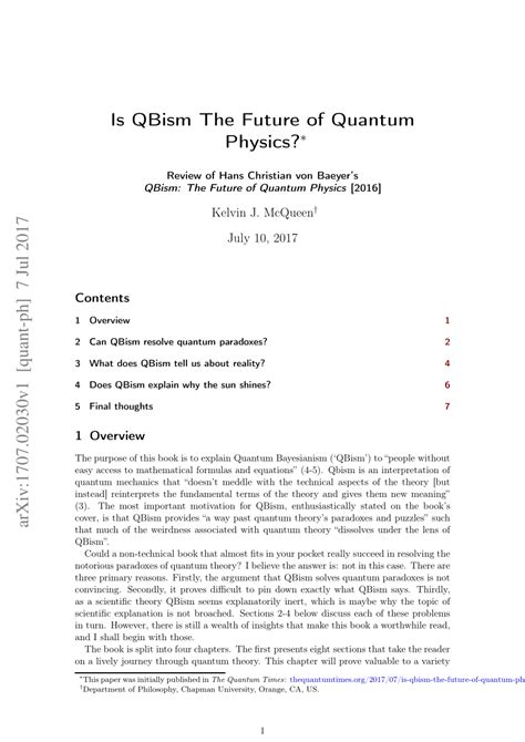 (PDF) Is QBism the Future of Quantum Physics?