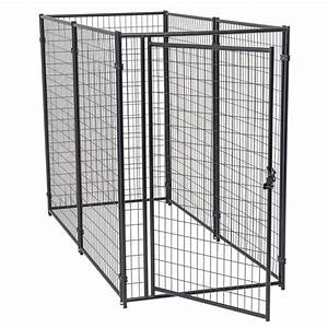 lucky dog 6 ft h x 4 ft w x 8 ft l modular kennel cl With chain link dog kennel panels home depot