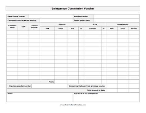 Salesperson Commission Voucher Template