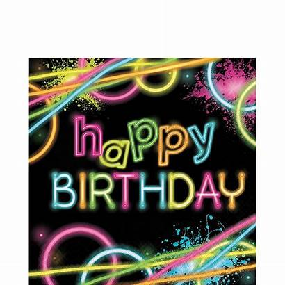 Neon Birthday Happy Party Lunch Napkins 16ct