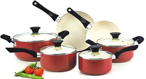 cook ceramic cookware nc piece pots cooking pan sets nonstick stick non coating rate