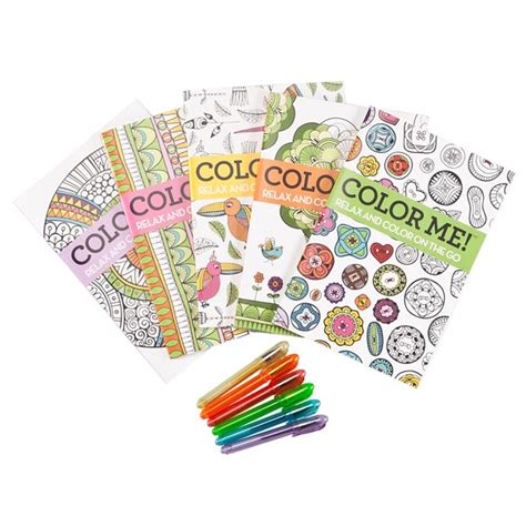 adult mini coloring books set of 5 with gel pens miles