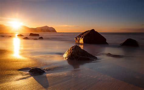sunset vikten beach norwa norway