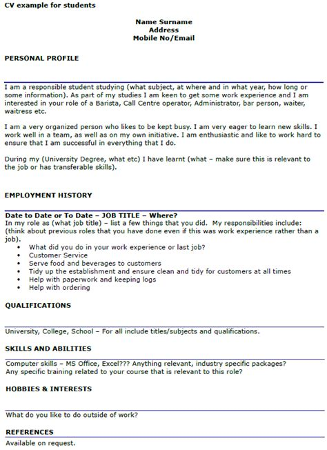 Student Cv by Student Cv Exle Template Icover Org Uk