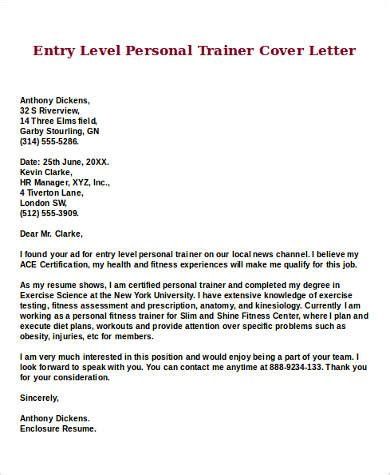 entry level personal trainer resume sle entry level cover letter 8 exles in word pdf