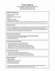 Sample Resume Format For Fresh Graduates  Two