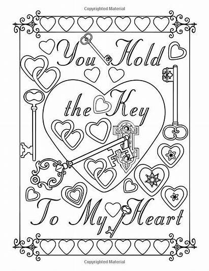 Coloring Pages Adult Heart Printable Word Quotes