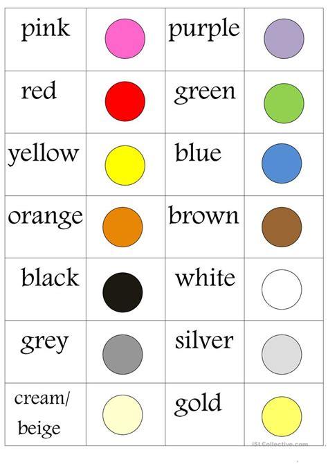 colours memo worksheet  esl printable worksheets