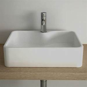 vasque a poser rectangulaire 49x38 cm plage robinet With salle de bain design avec vasque à poser faible profondeur