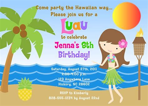 hula girl luau birthday party invitations luau kids