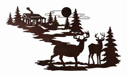 Silhouette Cabin Clip Deer Burning Wood Metal