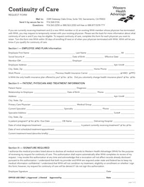Bcbsnc Continuity Of Care Form by Fillable Online Continuity Of Care Form Western Health