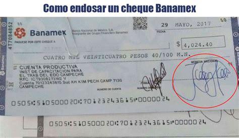 Como endosar un cheque para cobrar en Bancomer Banamex Banorte