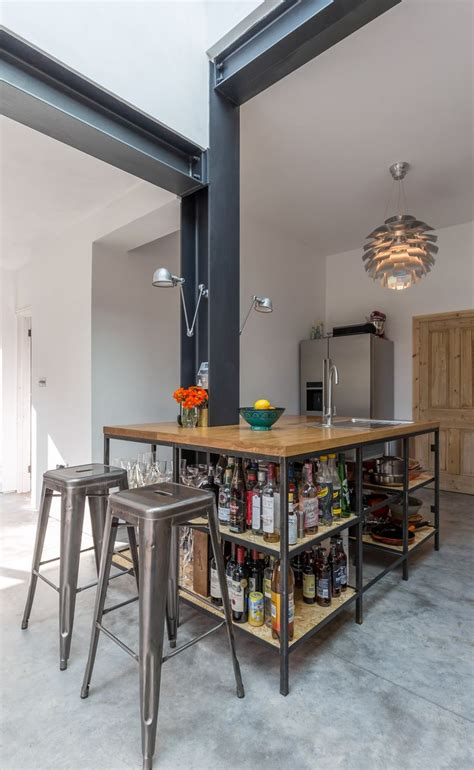 industrial kitchen island modern style industrial kitchen open shelving exposed 1842