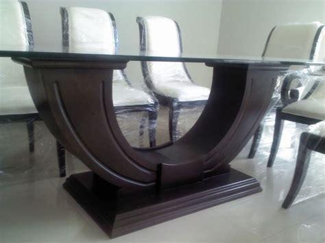 Base Novatore, para mesa rectangular, en madera de banak