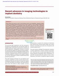 PDF Recent Advances In Imaging Technologies In Implant