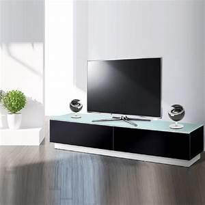 Meuble Tv Bas Design 170 Cm Pretty Noir Exclusive Mobuler