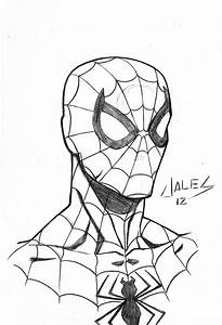 Drawn face spiderman - Pencil and in color drawn face ...