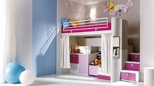 decoration chambre fille avec lit mezzanine visuel 1 With chambre ado fille mezzanine