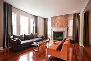 brick fireplace mantel Living Room Contemporary with ...