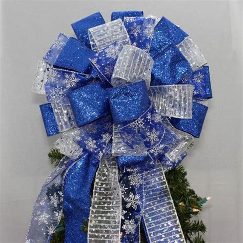 royal blue silver snowflake christmas tree topper bow